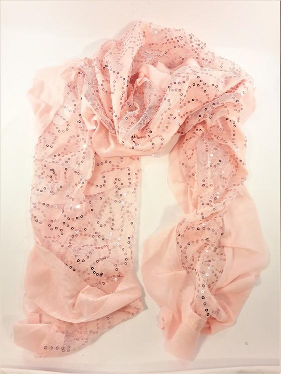 Rosa scarf med glittrande paljetter