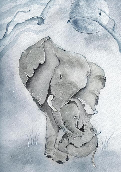 Akvarelltryck av Sara Hallberg - Pappa & Jag A4