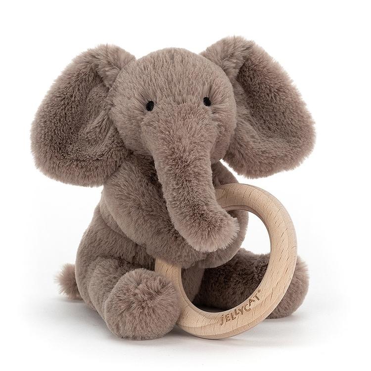 Jellycat Shooshu Elephant Wooden Ring Toy