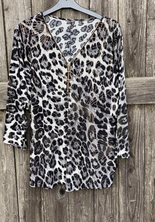 Grå mönstrad tunika med dragkedja
