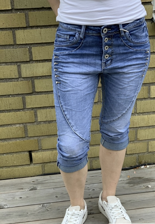 jeans ljusblå med bling 3/4
