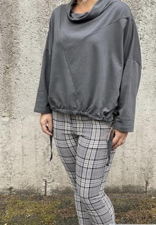 KARTIN Sweatshirt med halvpolo, grå
