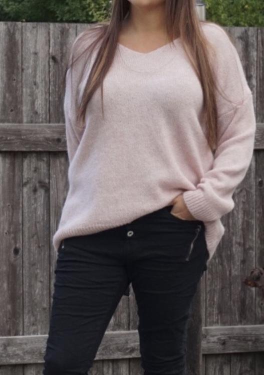 Stickad  tröja Rosa