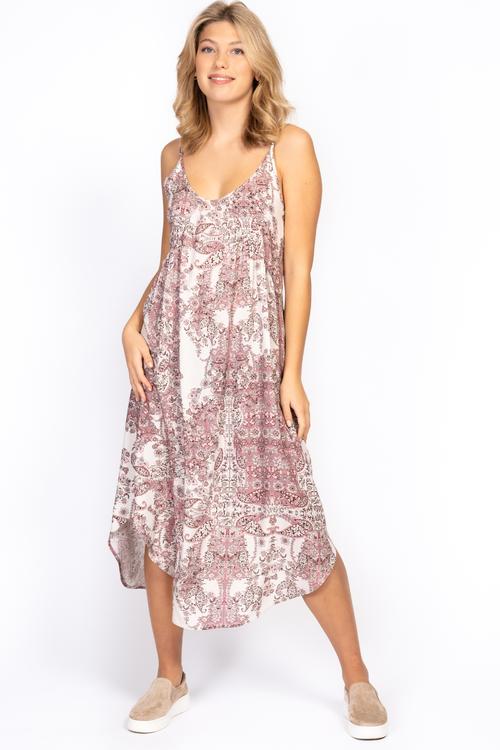 capri collection   GENEVA DRESS ROSE/SAND/SPRING GREEN
