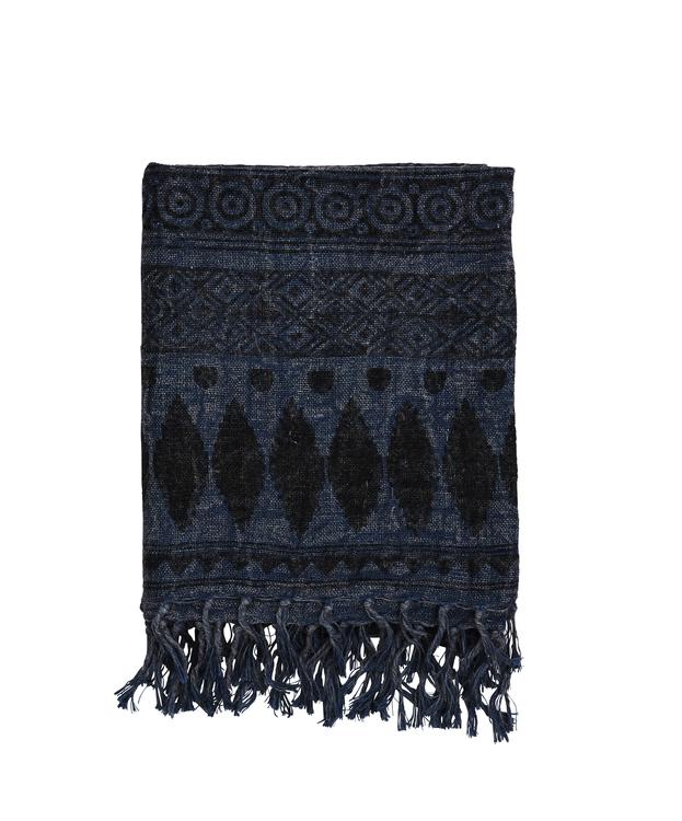 Pläd, Blue/Black, 100% linne