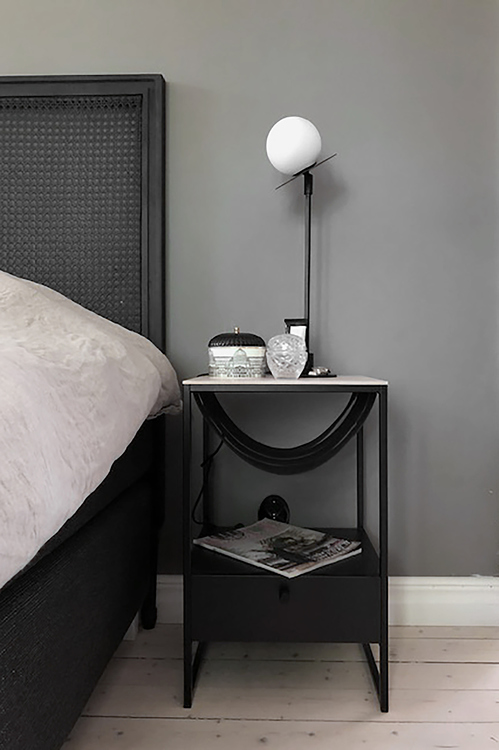 Bordslampa Art Deco, Svart/Vit