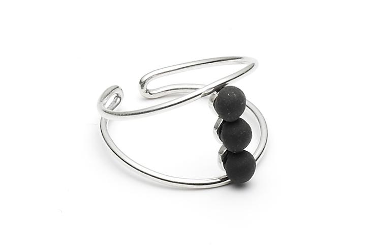 Ring Microdot-04-01, Silver/BlackMat