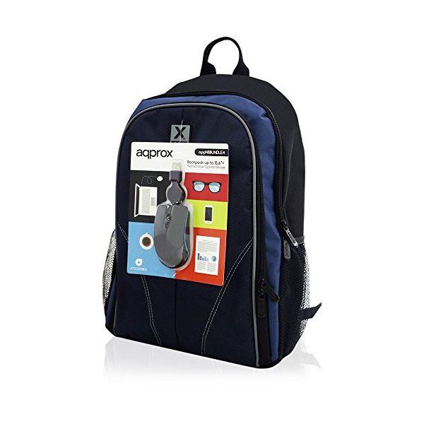 "Laptopryggsäck approx! APPNBBUNDLE4 15.6"" Svart Blå"