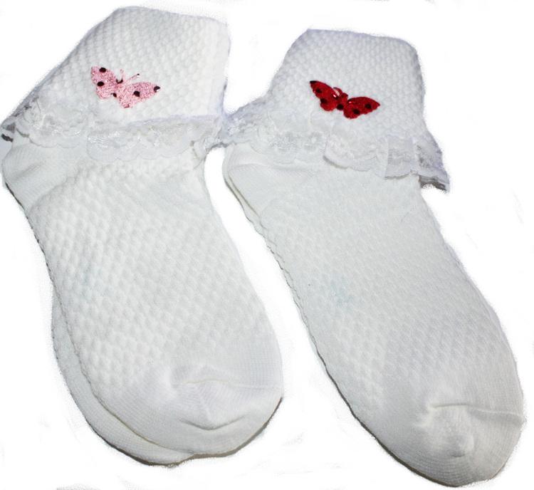 2 Par Bomull Fairy Frilly Socks (White)
