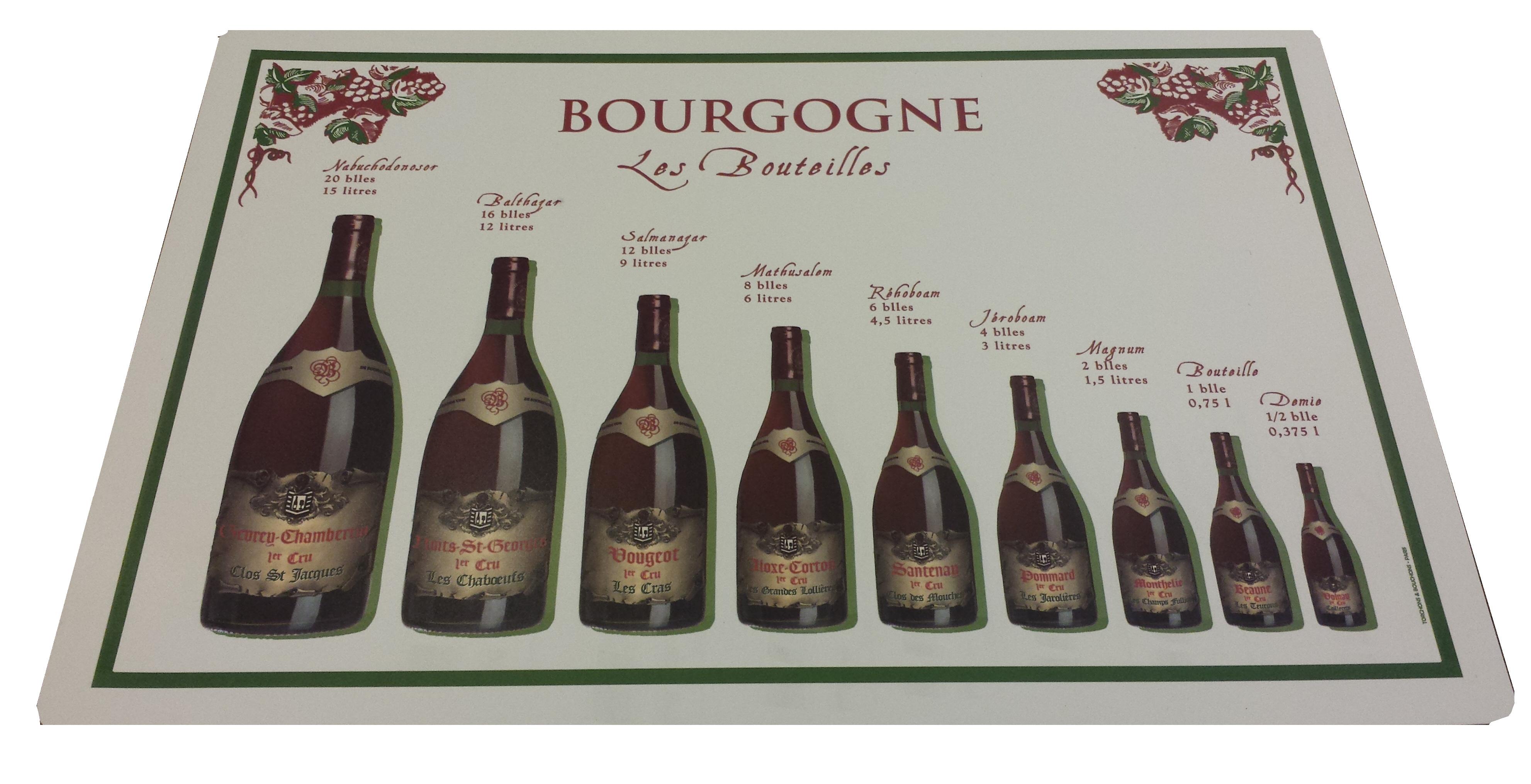 Bordstablett med vinflaskor från Bourgogne