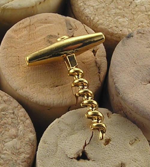 Brosch i guldförgyllt silver klassisk T- korkskruv