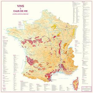 Vinkarta över Vin och Destillatregioner i Frankrike