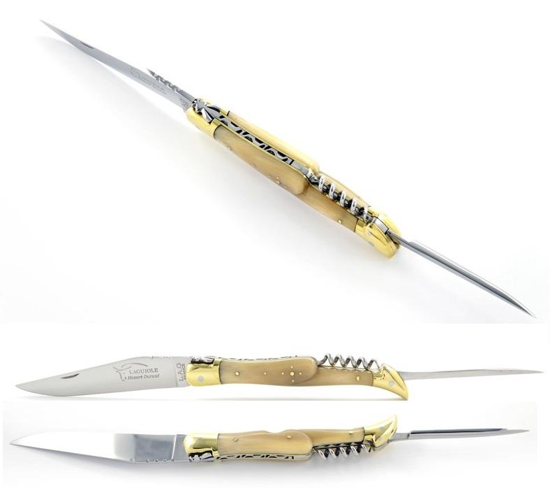 Laguiole fällkniv med syl och korkskruv blont horn