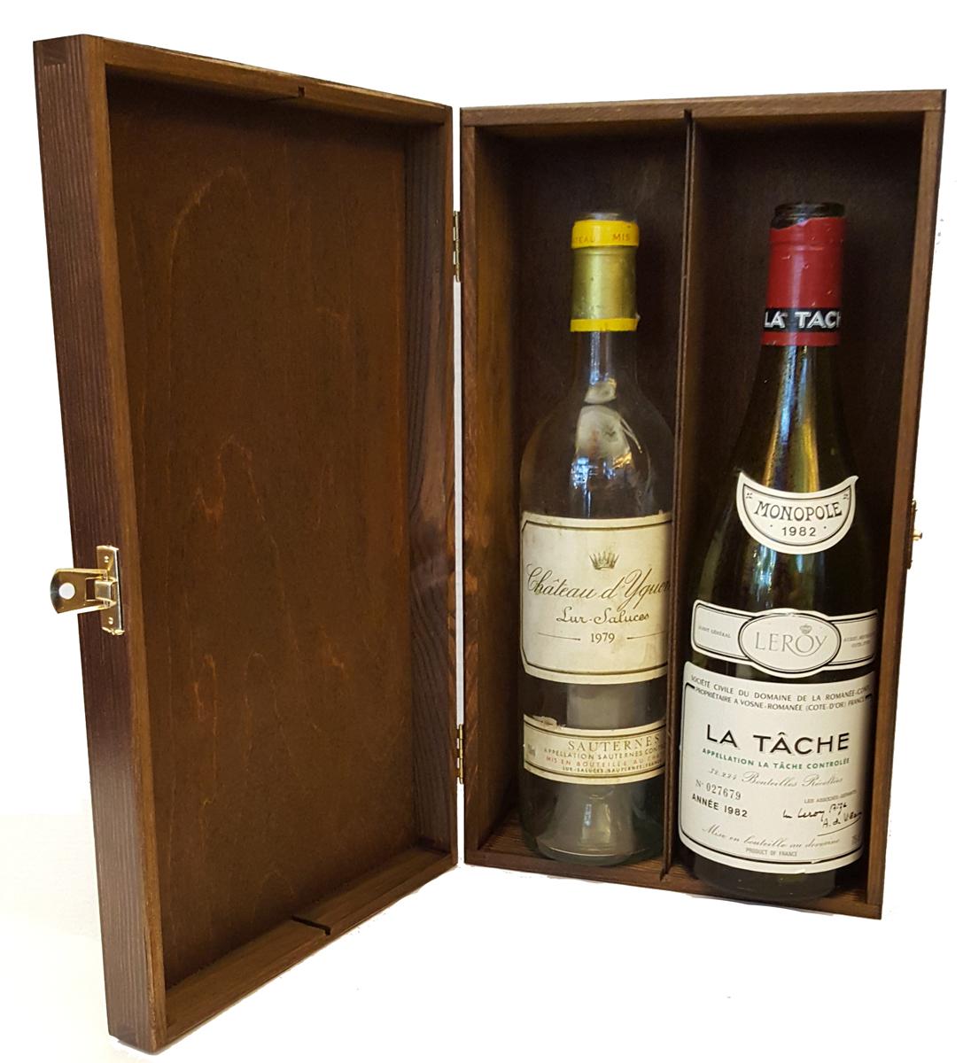 Trälåda för 2 vinflaskor