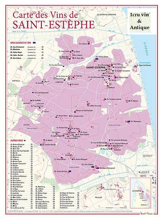 Vinkarta Saint-Estèphe i Bordeaux