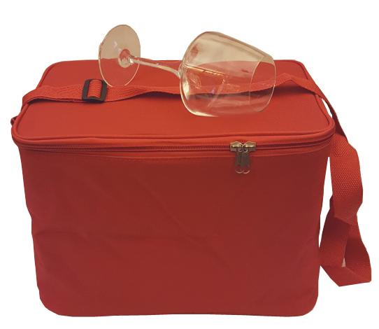 Vinglasväska för 6 vinprovarglas röd