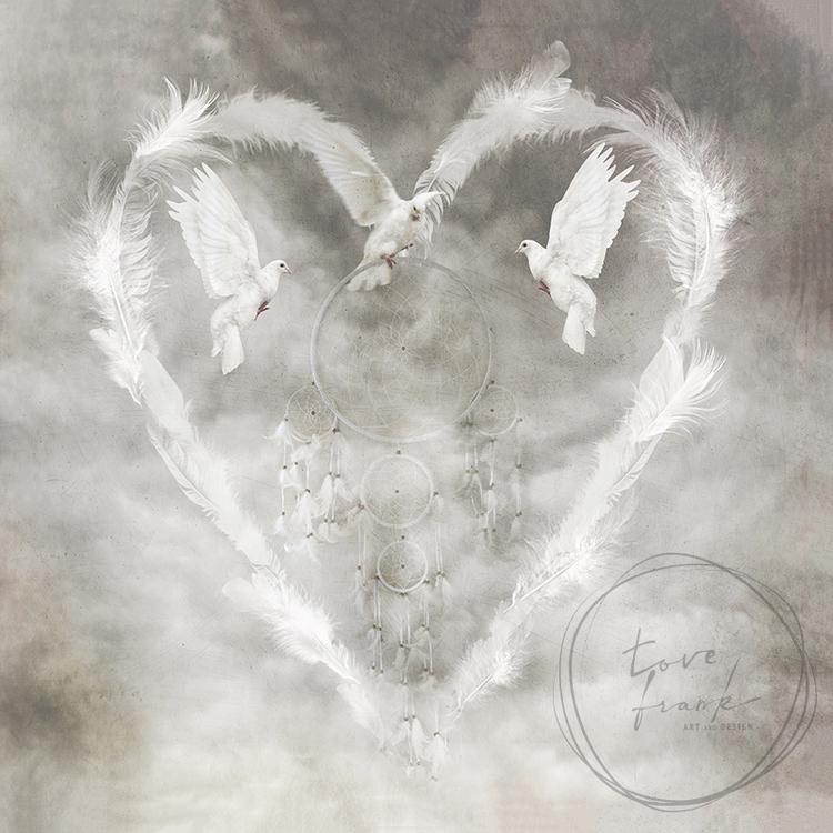 Feather Heart, folded card 15x15 cm