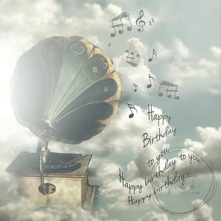 """Happy Birthday Song"" Dubbelt kort 15x15cm"
