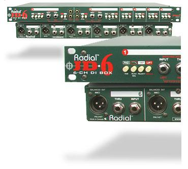 Radial JD6 rackmonterad 6-kanalig passiv Di-box