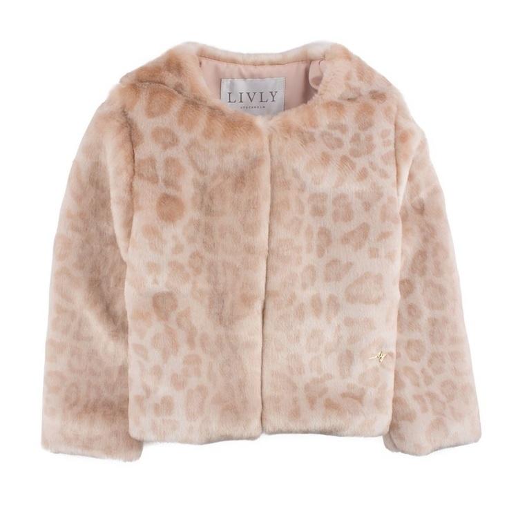 Livly Holly Faux Fur Jacket Blush Leopard