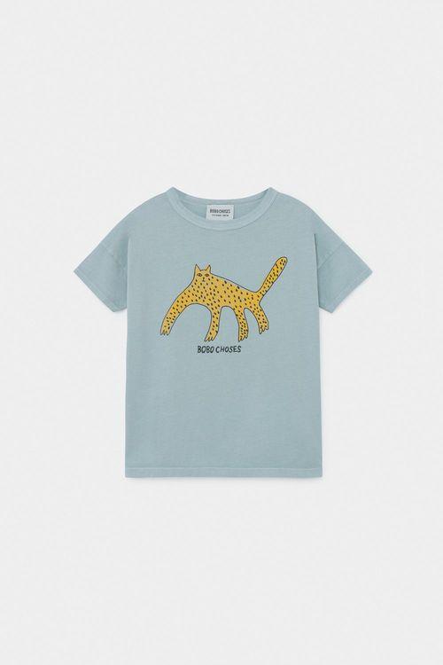 BOBO CHOSES Leopard T-Shirt Blue Fog