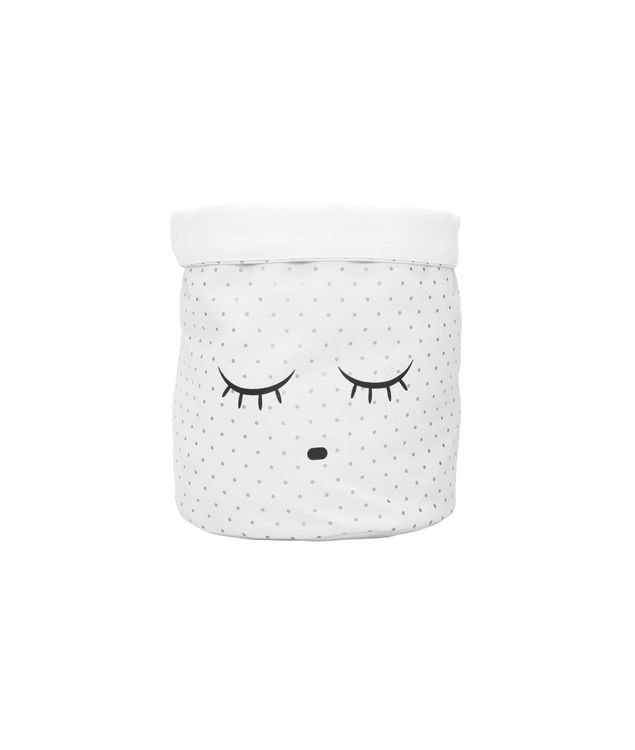 Livly Medium Canvas Basket White/Sleeping Cuite