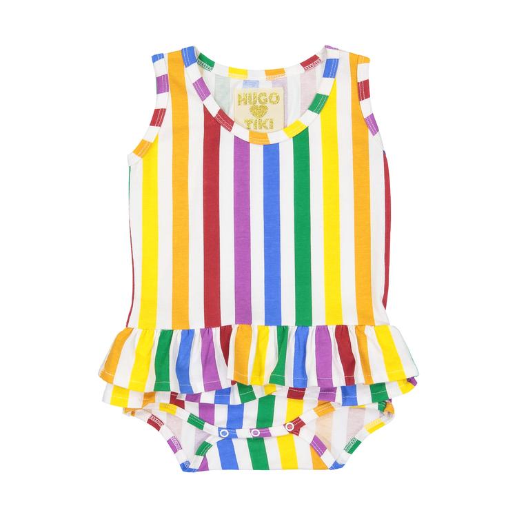 Hugo Loves Tiki Ruffle Tank Onesie - Rainbow Stripe