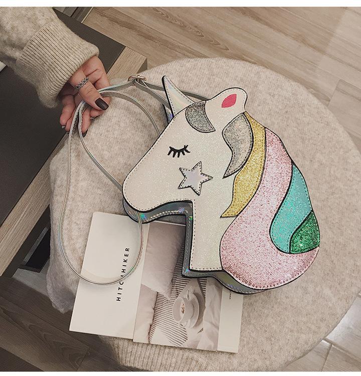 Glittrig Unicorn Enhörning Axelremsväska Silver
