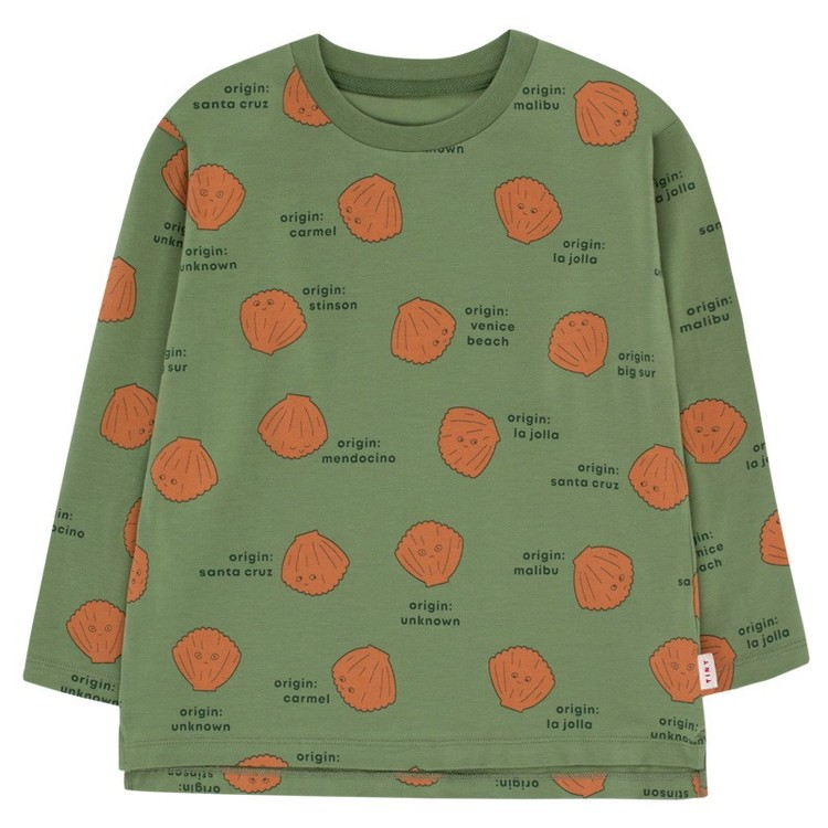 Tinycottons Shells Ls Tee Green Wood/Brown