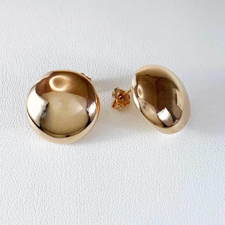 Örhängen Round Button Roséförgyllt Silver