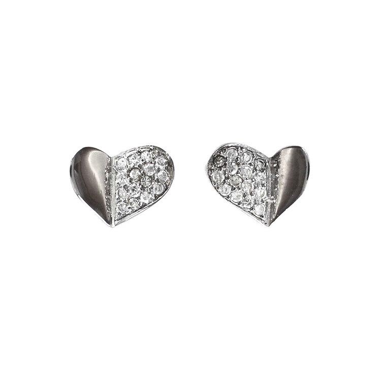 Örhängen Heart Rhodinerat Silver