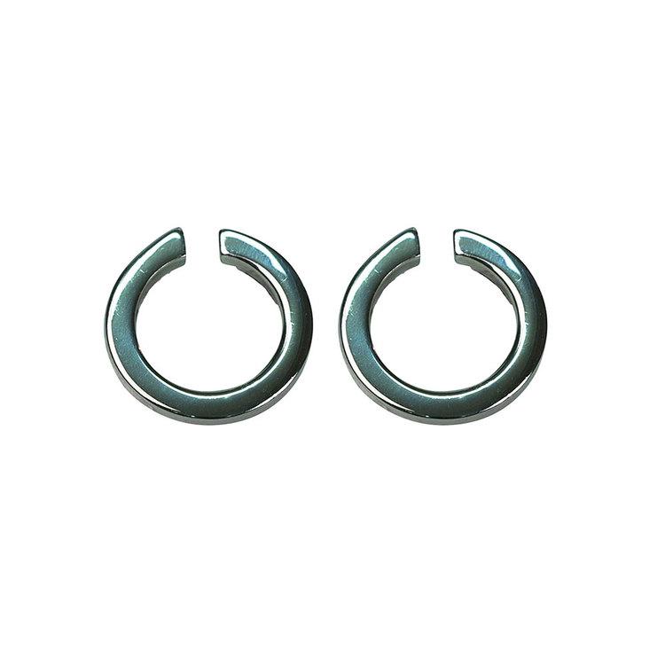 Örhängen Black Circle Silver