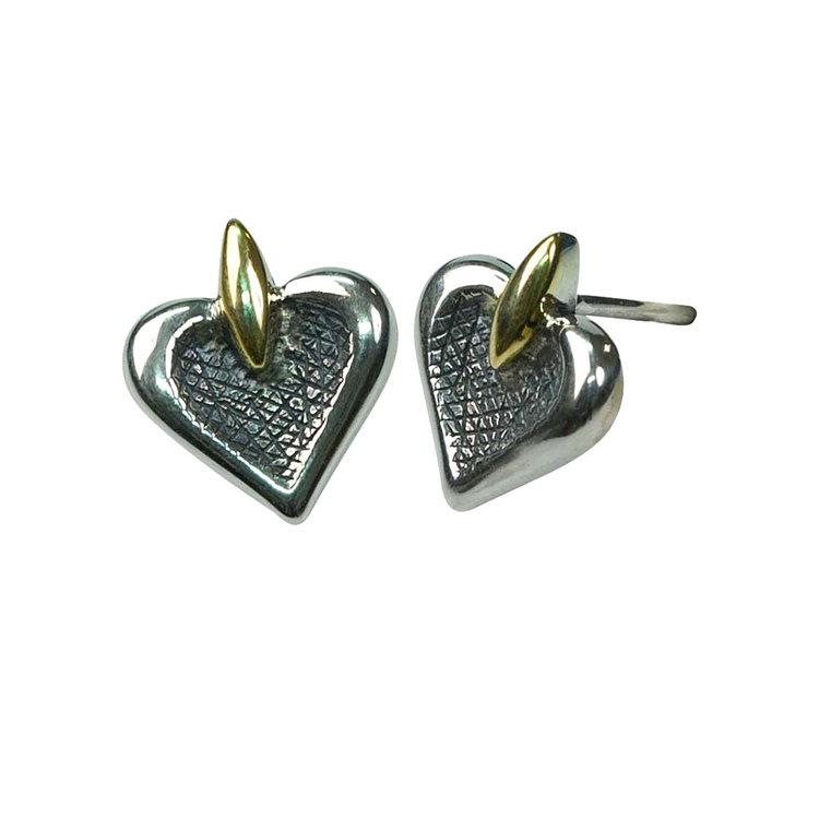 Örhängen Black/Gold Heart Silver