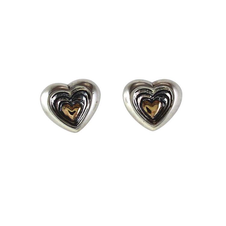 Örhängen Gold Heart Oxiderat Silver