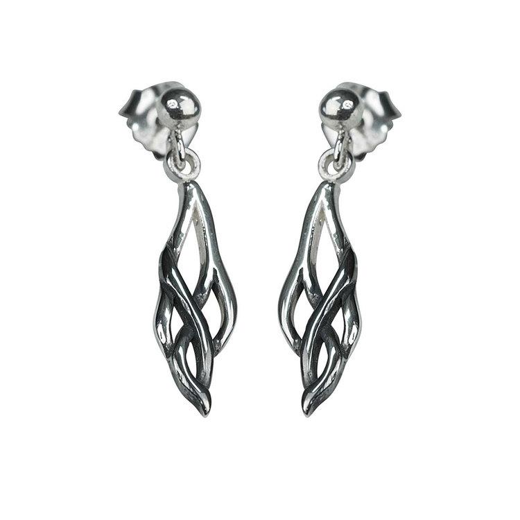 snygga örhängen i oxiderat silver DEAD LEAVES från Catwalk Jewellery