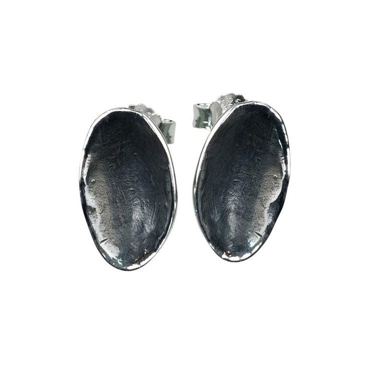 Örhängen Black Plates Oxiderat Silver