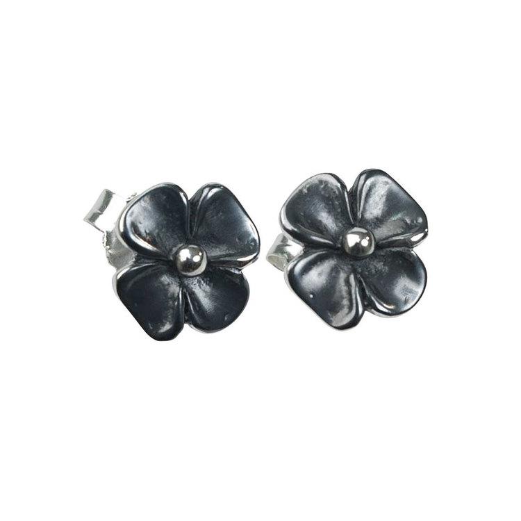 Örhängen [FLOWER] i oxiderat 925 silver