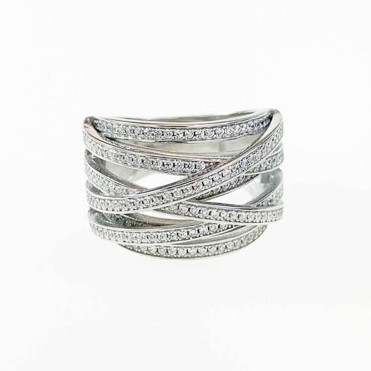 snygg ring i rhodinerat silver med cz-stenar Noelia från Catwalk Jewellery