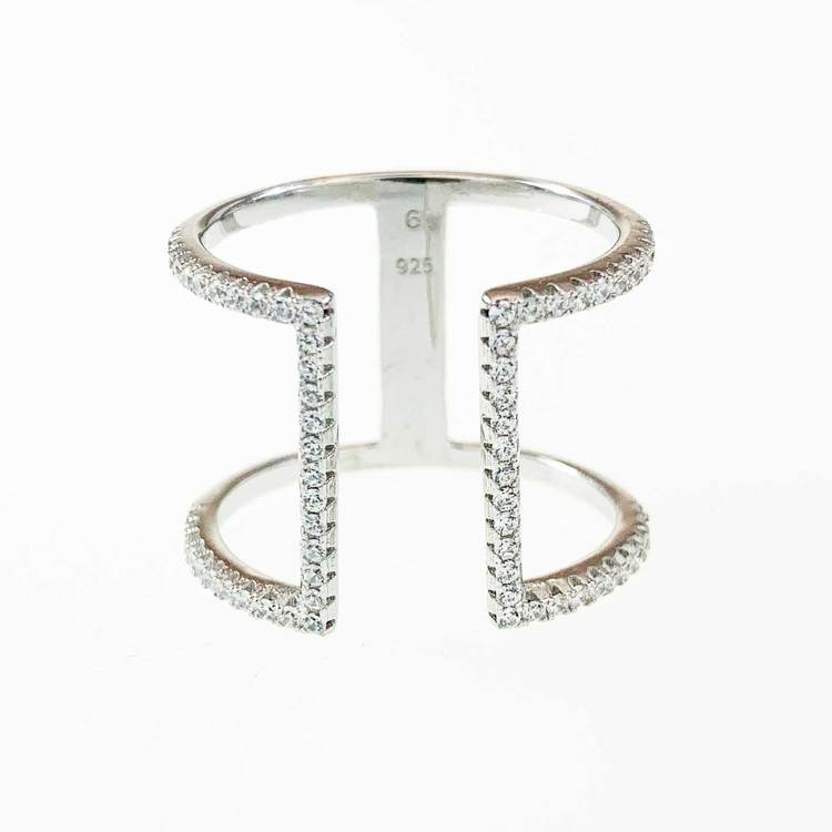 Ring Open Sparkling Silver