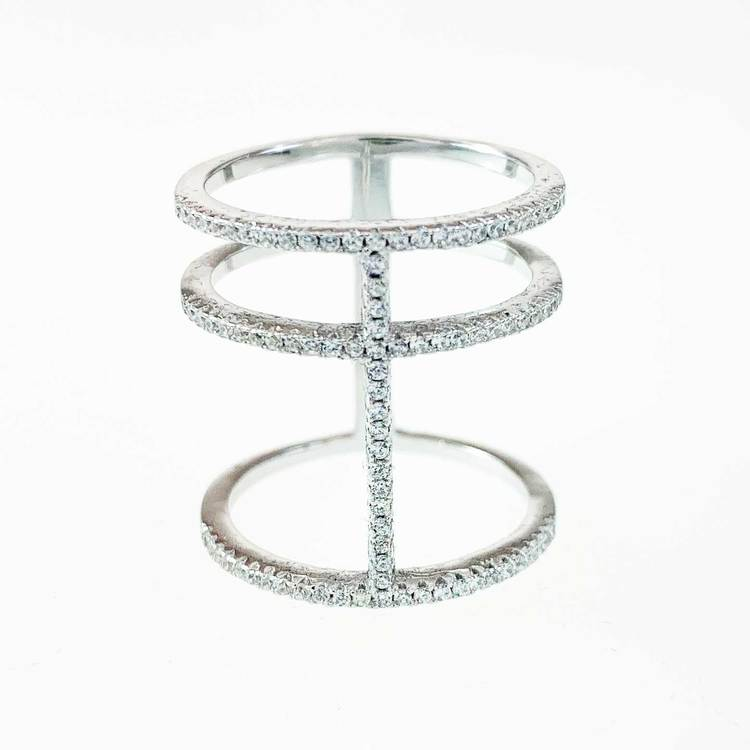 Ring 3 Lines Sparkling Silver