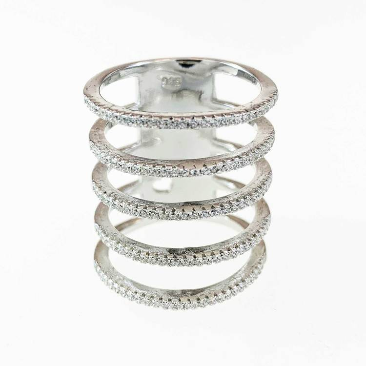Ring Five Lines Sparkling Silver