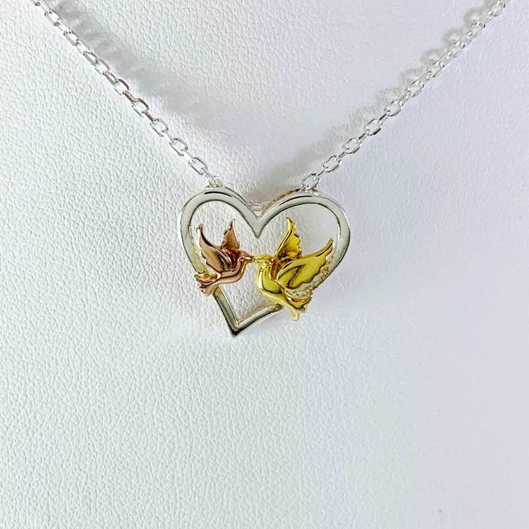 vackert silverhalsband LOVE BIRDS i roséförgyllt och förgyllt silver från Catwalk Jewellery