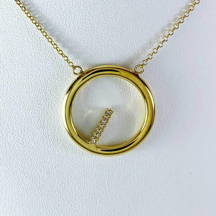 Halsband Sparkling Circle Förgyllt Silver