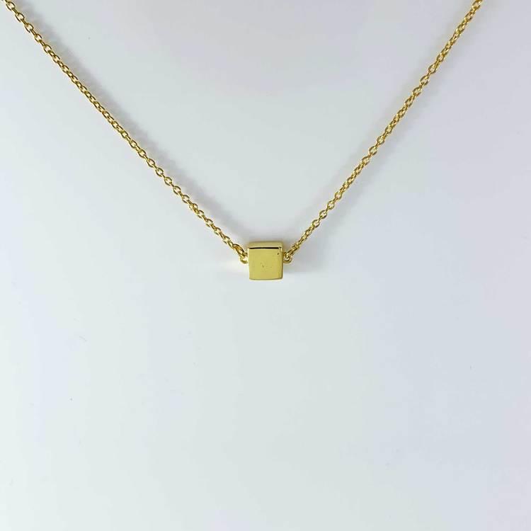 snyggt halsband i roseförgyllt silver Cube från Catwalk Jewellery