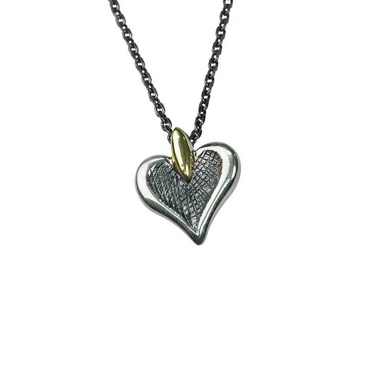 Halsband [HEART] med 9 karats gulddetaljer i 925 silver
