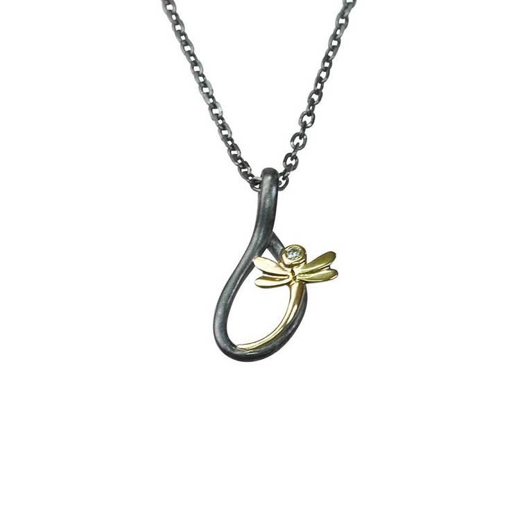 Halsband [BUTTERFLY] med 9 karats gulddetaljer i 925 silver