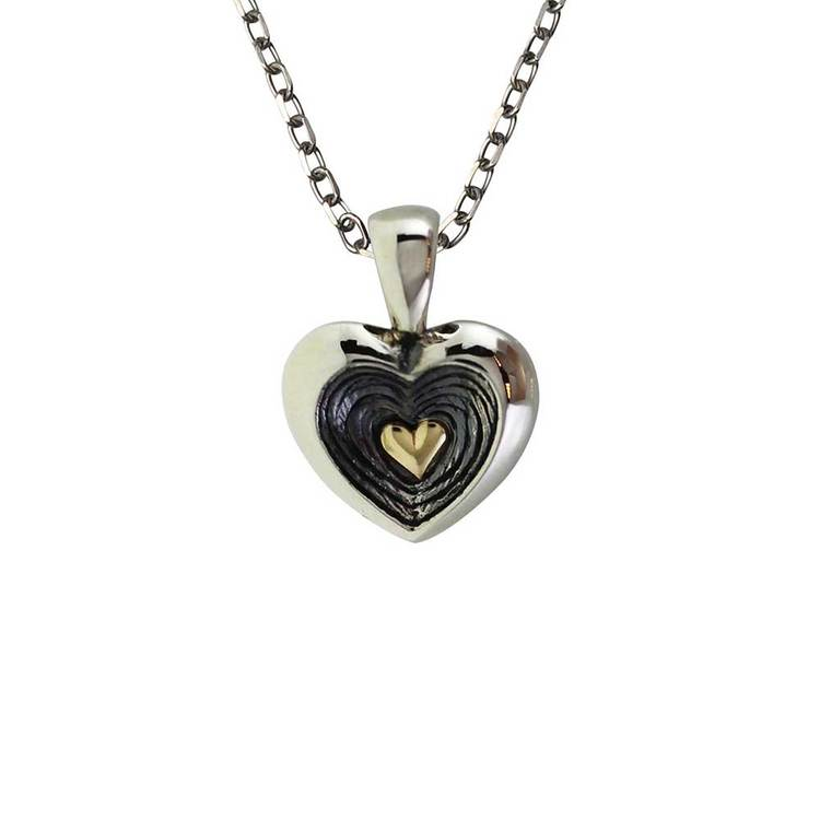 Halsband Gold Heart Oxidized Silver