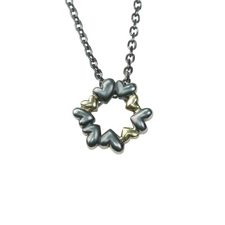 Halsband Heart Black/Gold Silver