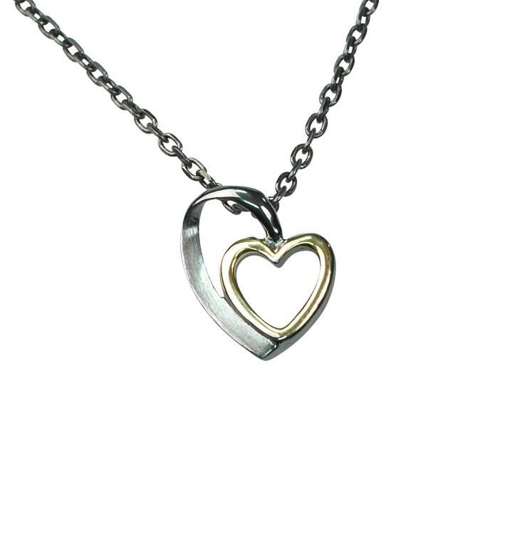 Halsband [HEART] i oxiderat/förgyllt 925 silver