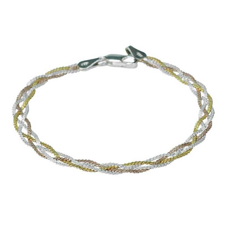 Snyggt silverhalsband BRAIDED THREE COLOURS från Catwalk Jewellery